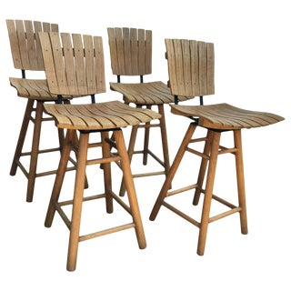 Set of 4 Swivel Bar Stools in the Manner of Arthur Umanoff For Sale