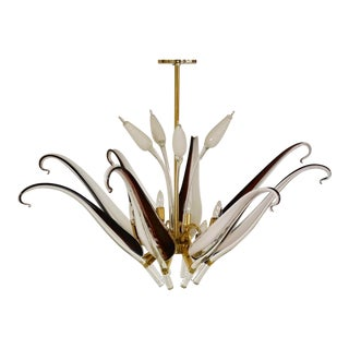 Franco Luce for Seguso Murano Glass and Brass Chandelier For Sale