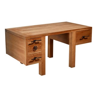 Jean Touret Oak Desk for Marolles, France, 1950s For Sale