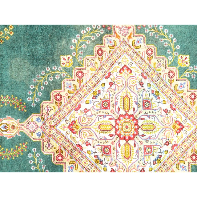 Super fine semi-antique vintage Persian Qum. 100% pure silk handmade hand knotted in Qum Iran. This rug has a dense, soft...