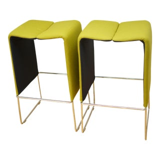 B&b Italia 'Pyllon' Stool by Nicole Aebischer in Chartreuse- A Pair For Sale