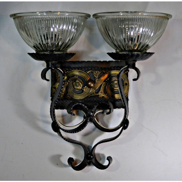Spanish Two Light Egyptian Motif Sconce For Sale - Image 3 of 6