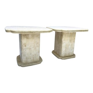 Maitland-Smith Art Deco Tessellated Bone Fossil End Tables - a Pair