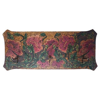 Art Nouveau Hand-Carved and Painted Wood Coat Rack
