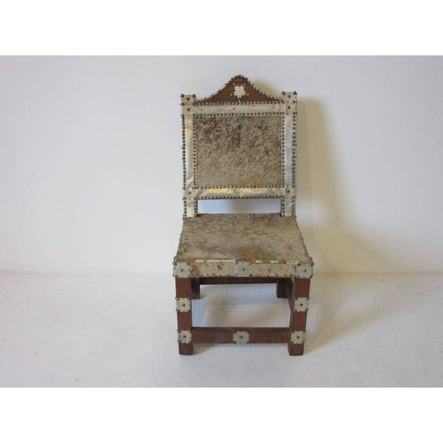 Folk Art African Royal or Prince Aluminum and Metal Studded Animal Skin Chair For Sale In Cincinnati - Image 6 of 6