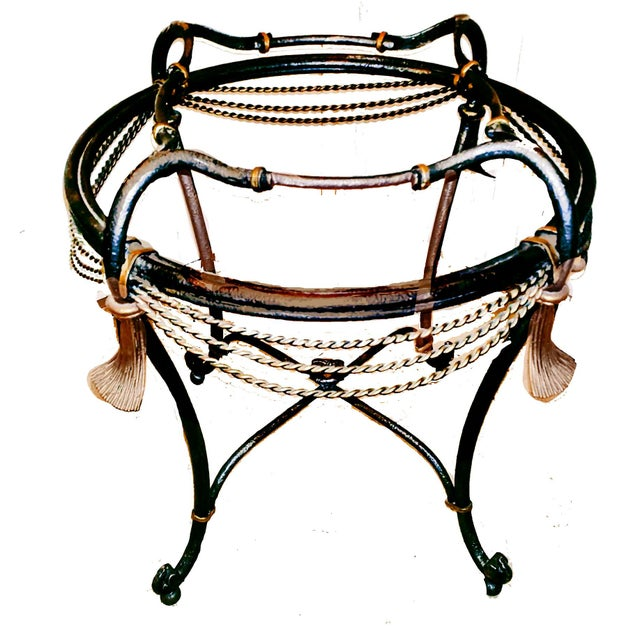 Hollywood Regency Style 19th century inspired Italian ornate fer forge accent table featuring gilded metal rope and...