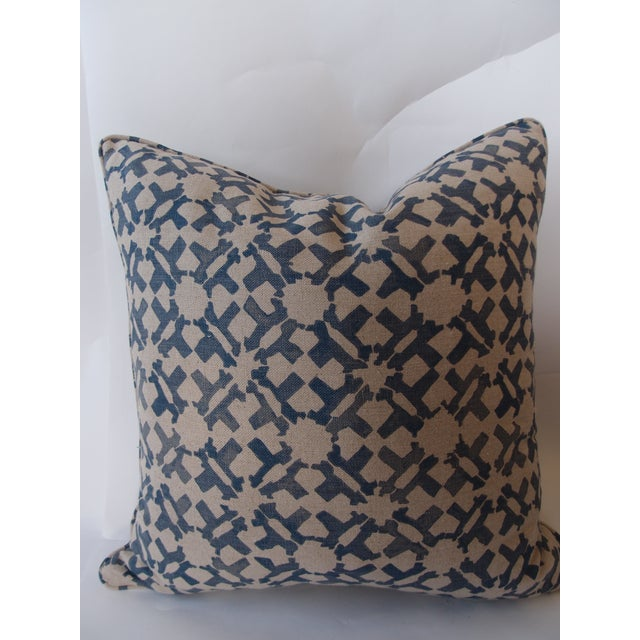 Brand new pillow crafted from an indigo-and-blue, linen, Peter Dunham fabric. Piping and a bottom zipper add a finished,...