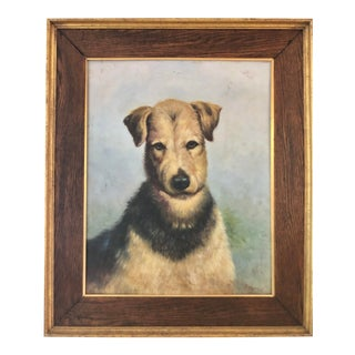 Mid 20th Century Oil Painting of a Dog, Framed For Sale