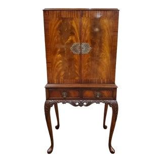 Antique Queen Anne Mahogany Cocktail Bar/Liquor Cabinet For Sale