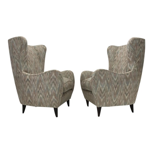 Italian High Back Lounge Chairs - A Pair - Image 1 of 11