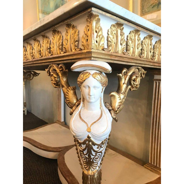 Neoclassical Italian Empire White Painted and Parcel Gilt Console Table Circa 1825 For Sale - Image 3 of 11