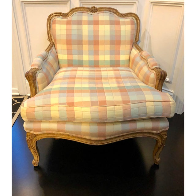 Shabby Chic Vintage Upholstered Bergere Style Chair For Sale - Image 3 of 12