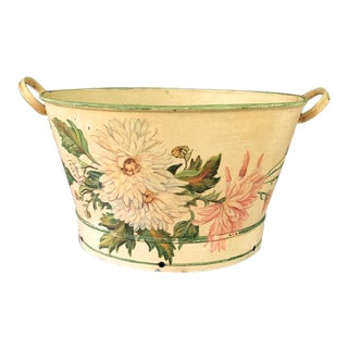 Large Antique Bucket With Hand Painted Peonies For Sale