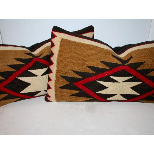 Americana Group of Three Early Navajo Weaving Pillows For Sale - Image 3 of 5