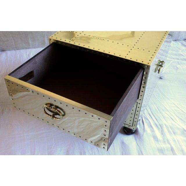 Sarreid Ltd. 1970s Sarreid Ltd. Spanish Polished Brass Clad Studded Chest Coffee Table For Sale - Image 4 of 12