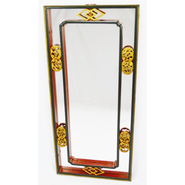 Vintage Chinese Red & Gold Accented Mirror - Image 4 of 10