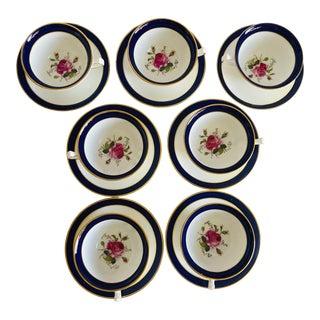 Elegant Vintage Rose Design English Bone China Set of 7 Tea/Coffee Cups & Saucers For Sale