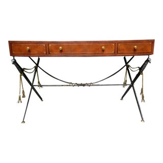 Vintage Maitland Smith Leather Top Campaign Desk For Sale