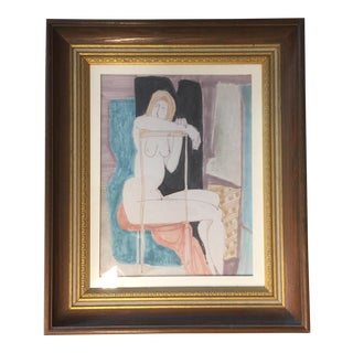 Vintage Original May Bender Female Nude Painting For Sale