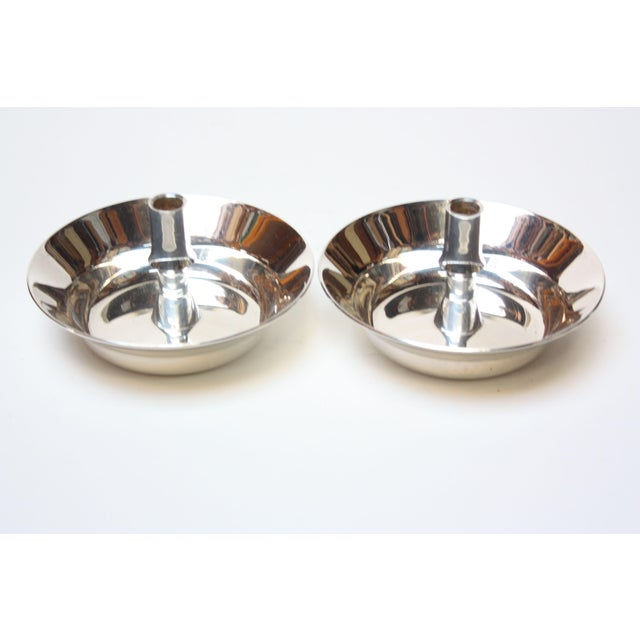 Mid-Century Modern Jens Quistgaard for Dansk Silver-Plated Candle Holders - A Pair For Sale - Image 3 of 7