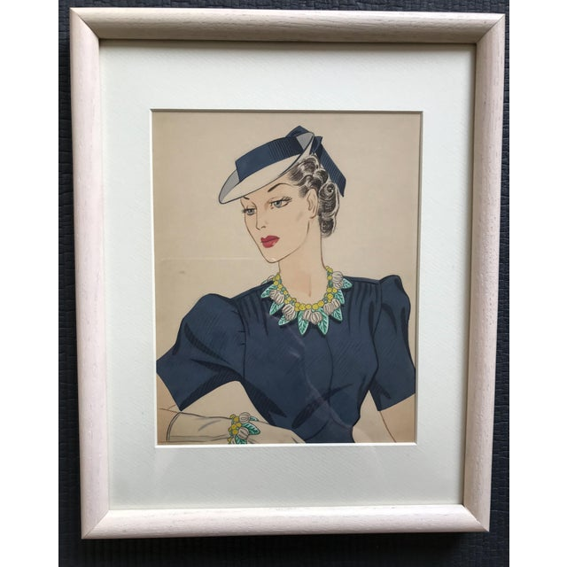 Illustration 1940s Gouache Painting for Miriam Haskell Jewelry by Frank Hess, Framed For Sale - Image 3 of 3