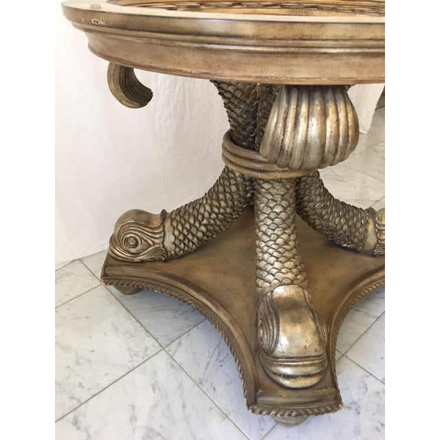 Transitional Neo Classical Gold Silver Gilt Dolphin Dining Table - Image 6 of 7