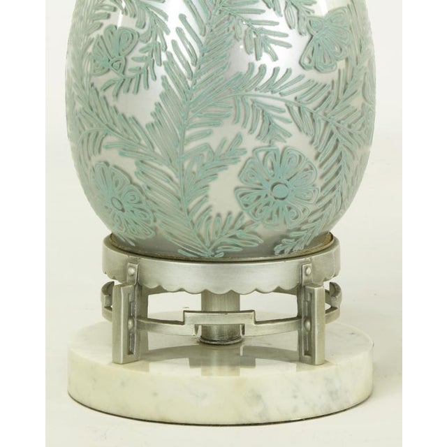 Pair Reverse Silvered & Hand Painted Glass Table Lamps - Image 6 of 8