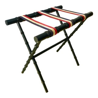 Vintage Dorothy Draper Style Chippendale Faux Bamboo Black Suitcase Luggage Rack For Sale