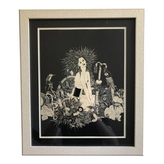 1960s Vintage Psychedelic Surrealist Etching Print For Sale