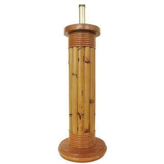 Restored Wrapped Rattan Pole Lamp With Mahogany Base For Sale
