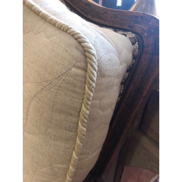 Cream Carved Walnut French Style Club Chair With Quilted Upholstery For Sale - Image 8 of 13