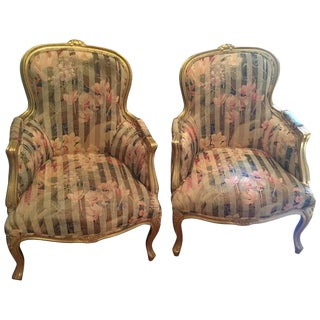 French Painted Upholstered Armchairs - A Pair For Sale