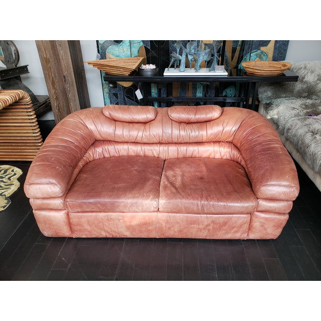 1960s Italian Zanotta Two-Seater Leather Sofa For Sale - Image 4 of 9