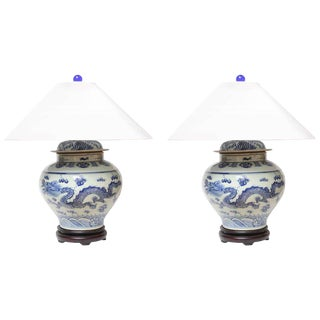 1940's Chinese Dragon Table Lamps With Shades - a Pair