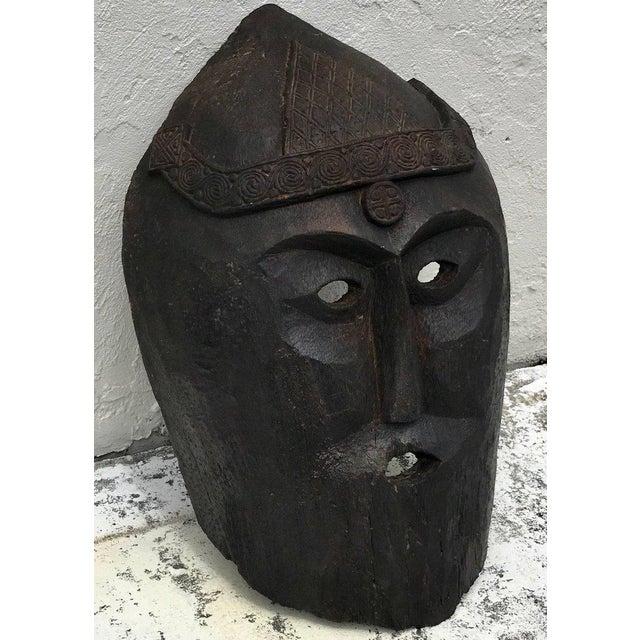 Huge Carved Mahogany Celtic Mask For Sale In Atlanta - Image 6 of 12
