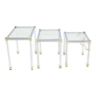 Vintage Mid Century Chrome and Brass Nesting Tables- Set of 3 For Sale