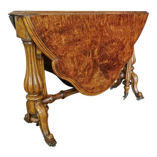 19th C. English Burl Walnut Sutherland Table For Sale
