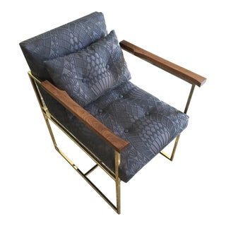 Belgian Woven Fabric & Walnut Pixie Lounge Chair For Sale