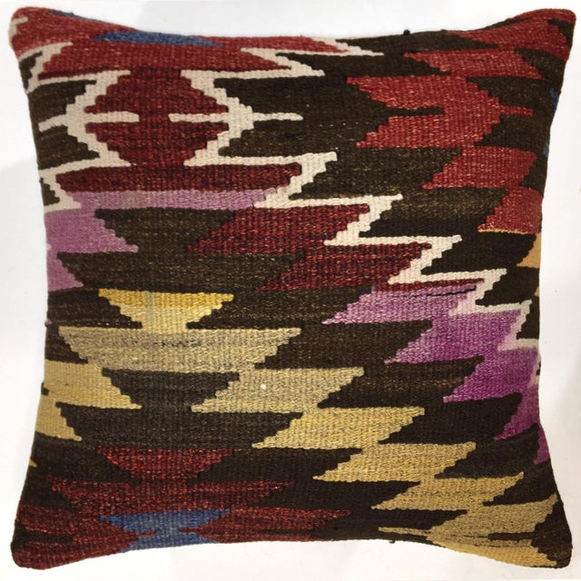 "Boho Chic Rug & Relic Vintage 20"" Kilim Pillow For Sale - Image 3 of 3"