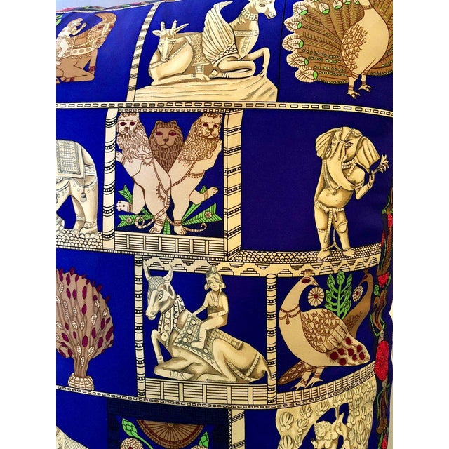 """Blue Enormous French Hollywood Regency Style Hermès """"Torana"""" Silk Stuffed Pillow For Sale - Image 8 of 11"""