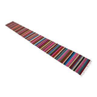 Vintage Turkish Long Hand-Woven Kilim Runner Rug Stair Tread - 1′11″ × 17′11″