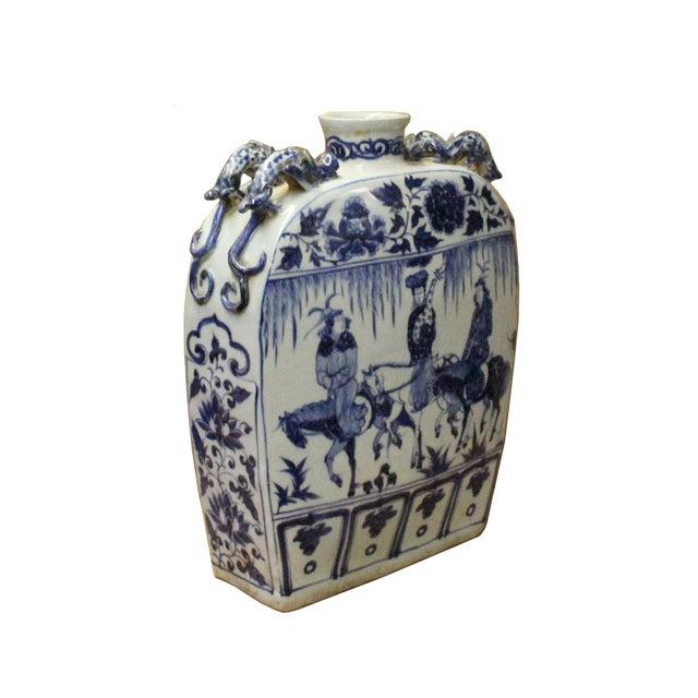 Chinese Blue White Porcelain People Scenery Rectangular Flat Flask