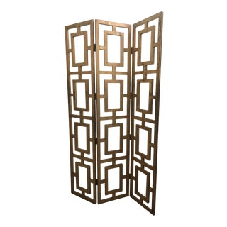 1950s Mid-Century Modern 3-Panel Gilded Wood Screen For Sale