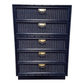 Navy Lacquered Faux Bamboo Chest