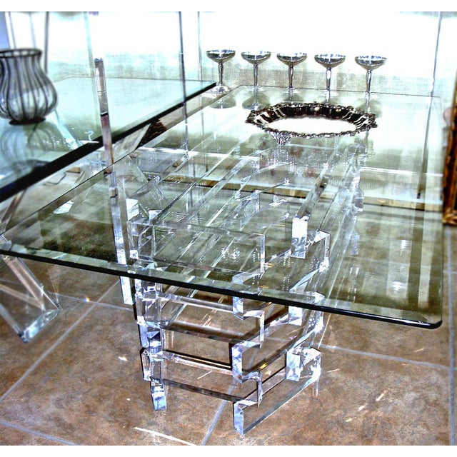 Vintage Modern Acrylic Lucite Base Coffee Table - Image 4 of 5