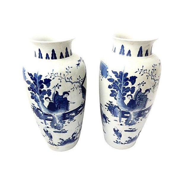 Hand-Painted Blue & White Vases, Pair - Image 2 of 9