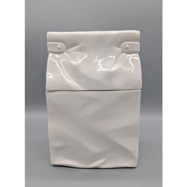 Late 20th Century Vintage White Paper Bag Cookie Jar For Sale - Image 5 of 9