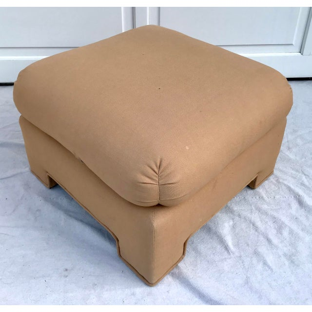 Art Deco 1979 Upholstered Soufflé Style Modern Pink Ottoman For Sale - Image 3 of 13