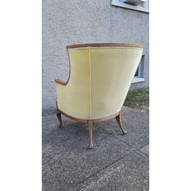 Antique Canary Yellow Velvet Armchair - Image 6 of 6