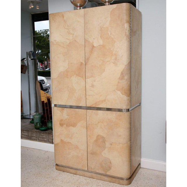 1960s Rare Karl Springer Goatskin, Stainless Four-Door Tall Cabinet For Sale - Image 5 of 11